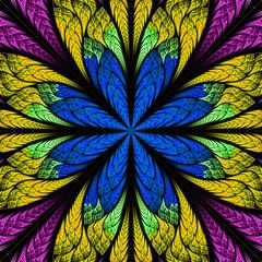 Symmetrical pattern in stained-glass window style. Purple, blue