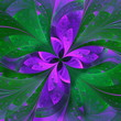 Beautiful fractal flower in violet and green. Computer generated