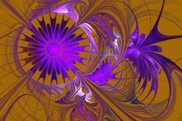 Flower background. Purple and beige palette. Fractal design. Com