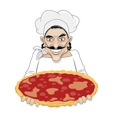 Chef Man with pizza