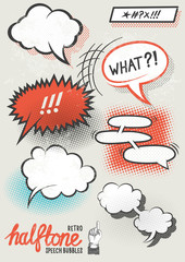 Vector Halftone Speech Bubbles