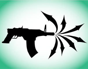 Submachine gun vector silhouette with arrows shots big bang