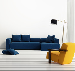 Elegant contemporary fresh interior with blue sofa