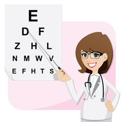 cartoon girl ophthalmologist with chart testing eyesight