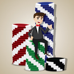 cartoon businessman with stack of casino chips
