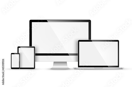 Set of modern devices. Vector poster