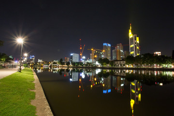frankfurt city skyline and the main river at night
