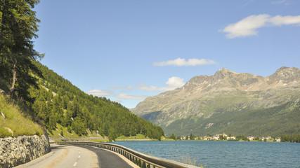 Maloja, Silsersee, Passstrasse, Schweizer Alpen, Graubünden