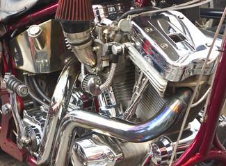 Shiny motorcycle engine