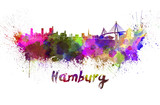 Hamburg skyline in watercolor