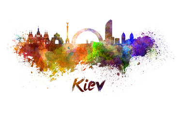 Kiev skyline in watercolor