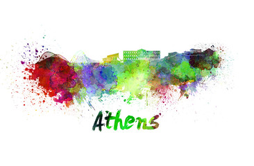Athens skyline in watercolor