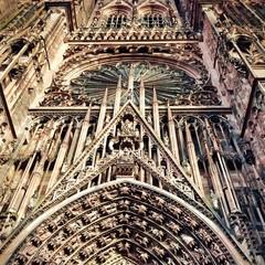 Facade of Notre Dame de Strasbourg cathedral. Alsace. France.