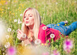 girl blowing a dandelion - meadow 08