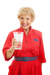Senior Lady Drinks Water
