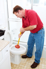 Man Plunging Toilet