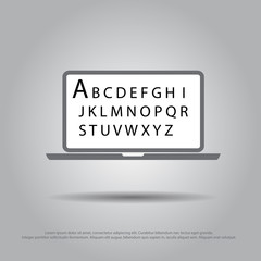 text in laptop vector icon