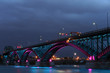Peace Bridge with blue and pink lights