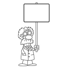 cartoon scientist holding blank sign
