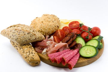 Rustical breakfast on wood plate