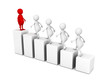 leadership concept 3d people grow on bar chart