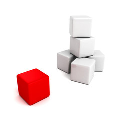 different red cube out from white tower stack
