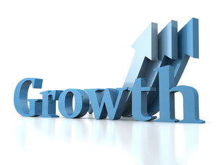 growth concept text with arrows
