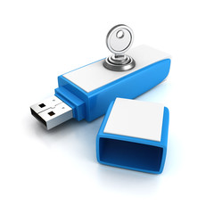 usb flash drive with lock key on white background