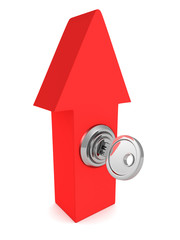 red arrow pointing up with key lock