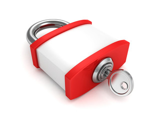red security padlock and key on white background