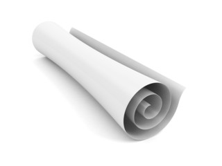 Blank scroll of paper on a white background