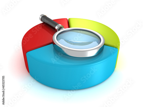 business pie chart diagram and magnifier glass