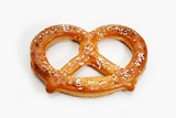 A Delicious Baked Soft Pretzel Over White