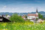 Schweizer Dorf im Frühling