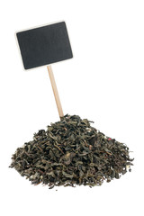 Heap of  green  tea  with a pointer for your text