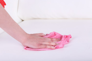 Cleaning white sofa