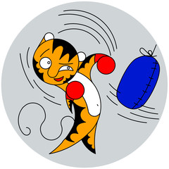Vector cartoon cute young tiger beats a bag of martial arts
