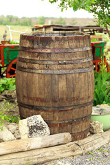 Old wooden barrel, outdoors