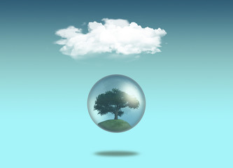 Tree in globe under a white cloud