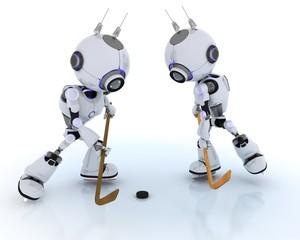 Robots playing ice hockey