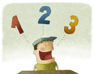 Illustration of kid counting three numbers