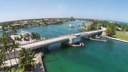 Aerial voew of coastal bridge in South Florida