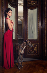 beautiful woman with greyhound