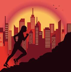 ragazza che fa jogging e città sullo sfondo
