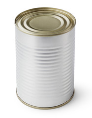 Metal Tin Can isolated on white with clipping path