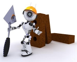 Robot with bricks and trowel