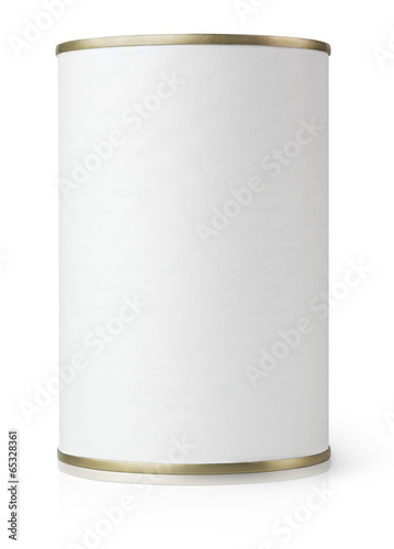 White Blank Metal Tin Can isolated on white with clipping path - 65328361