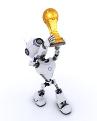 Robot lifting football trophy