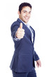 Happy business man with thumb up, isolated on white background