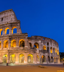 Evening view of Colosseo in Rome, Italy